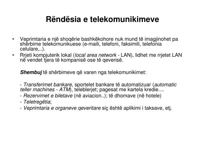 Rëndësia e telekomunikimeve