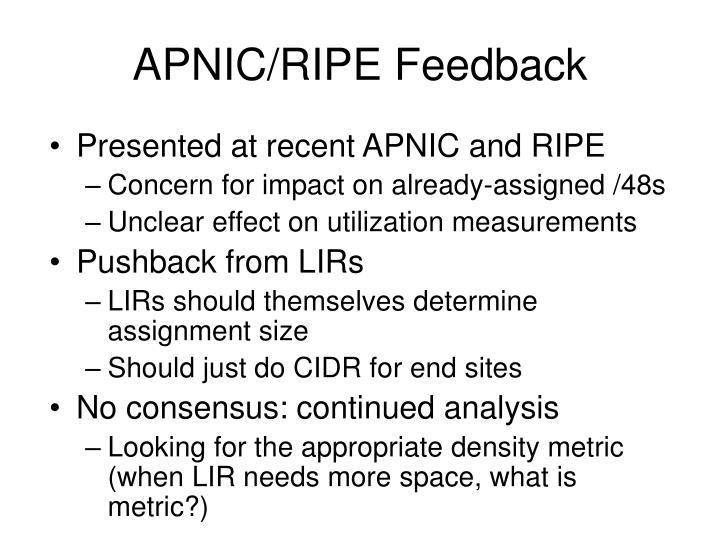 APNIC/RIPE Feedback