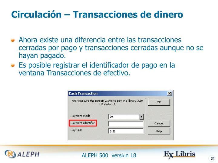 Circulación – Transacciones de dinero