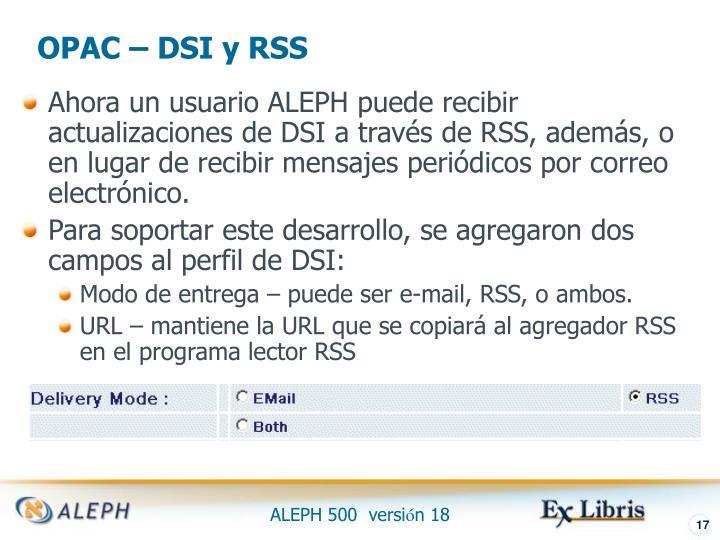 OPAC – DSI y RSS