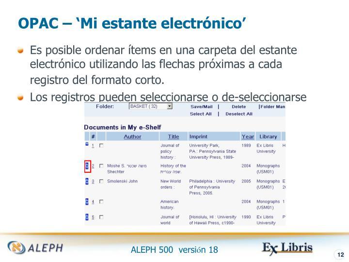 OPAC – 'Mi estante electrónico'