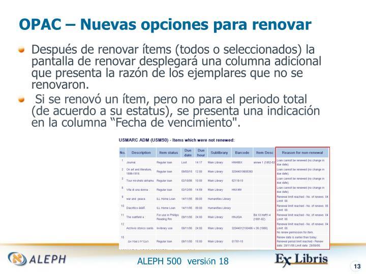 OPAC – Nuevas opciones para renovar