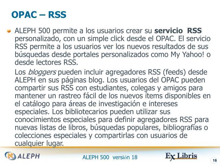 OPAC – RSS