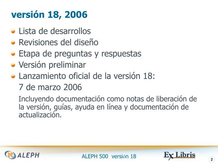 versión 18, 2006