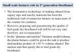 small scale farmers role in 1 st generation bioethanol