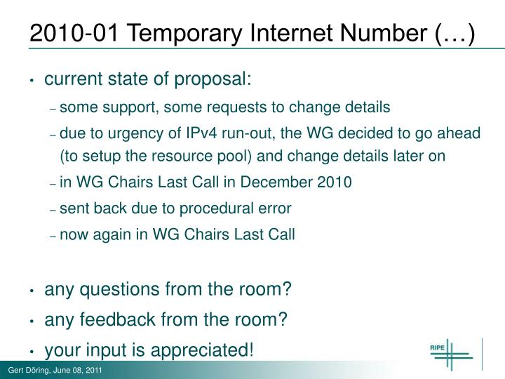 2010-01 Temporary Internet Number (…)