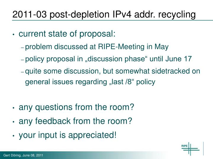 2011-03 post-depletion IPv4 addr. recycling