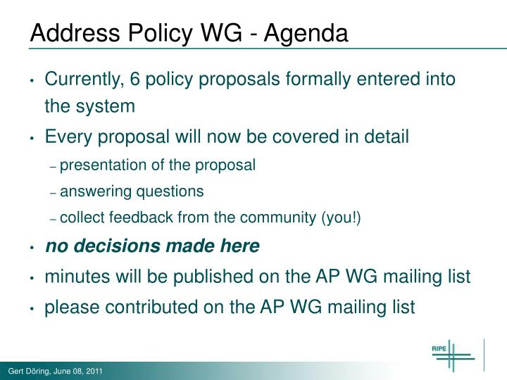 Address Policy WG - Agenda