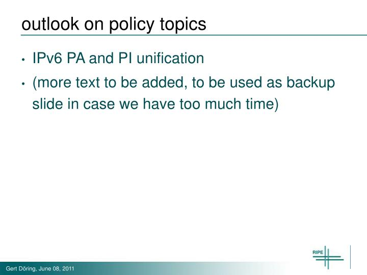 outlook on policy topics