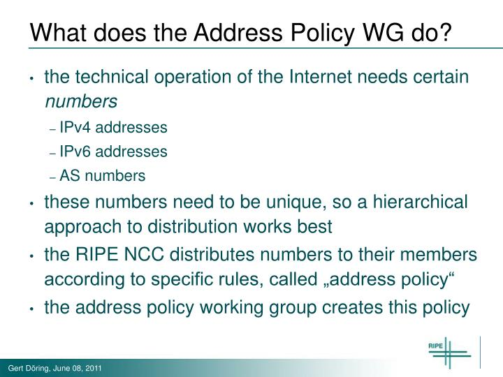 What does the Address Policy WG do?