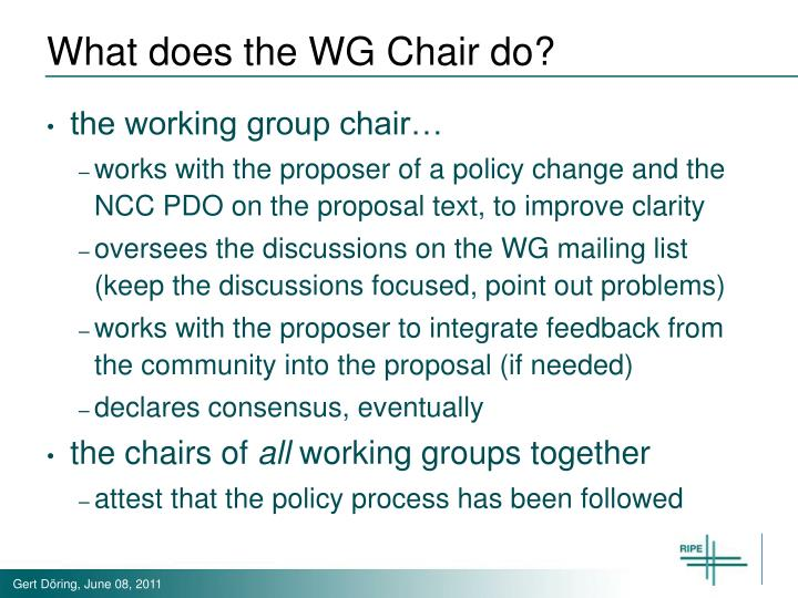 What does the WG Chair do?