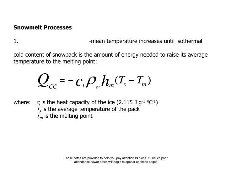 Snowmelt Processes