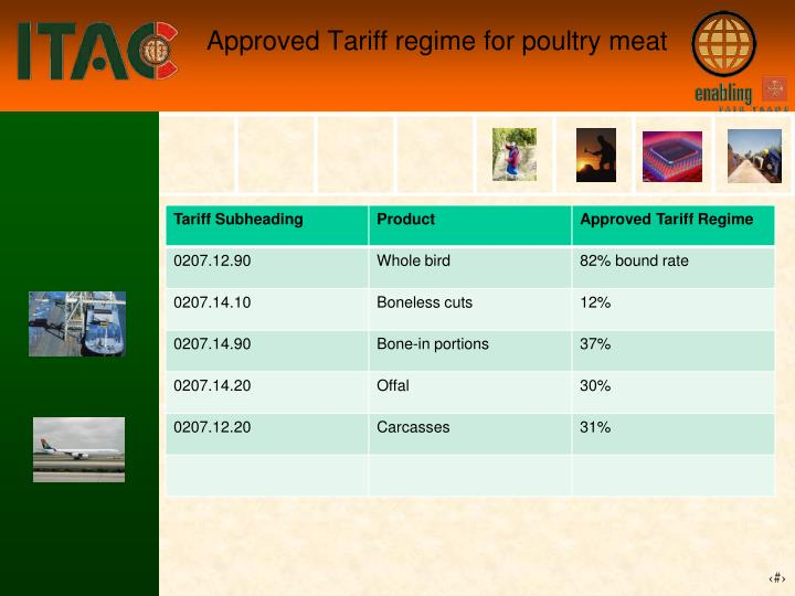 Approved Tariff regime for poultry meat