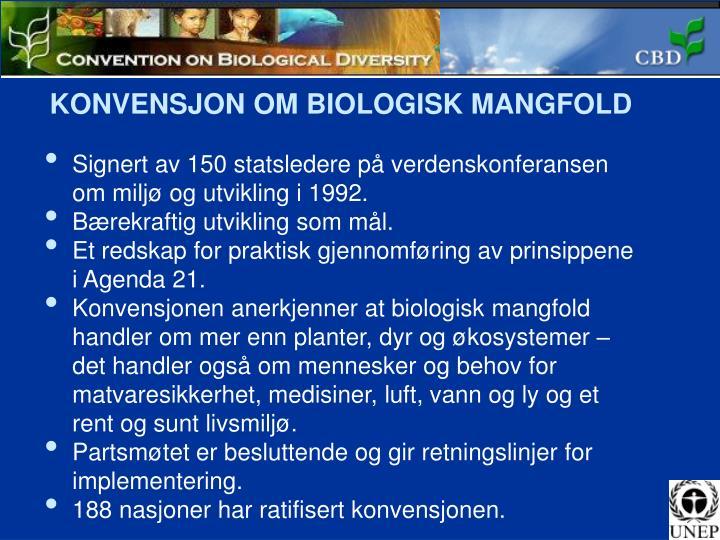 KONVENSJON OM BIOLOGISK MANGFOLD