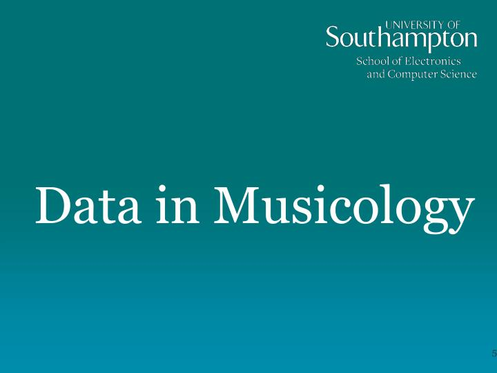 Data in Musicology