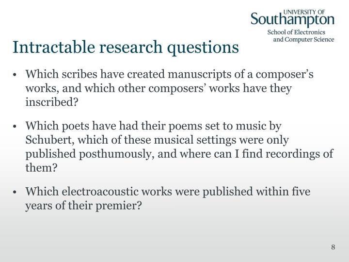 Intractable research questions