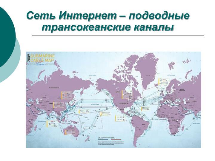Сеть Интернет – подводные трансокеанские каналы