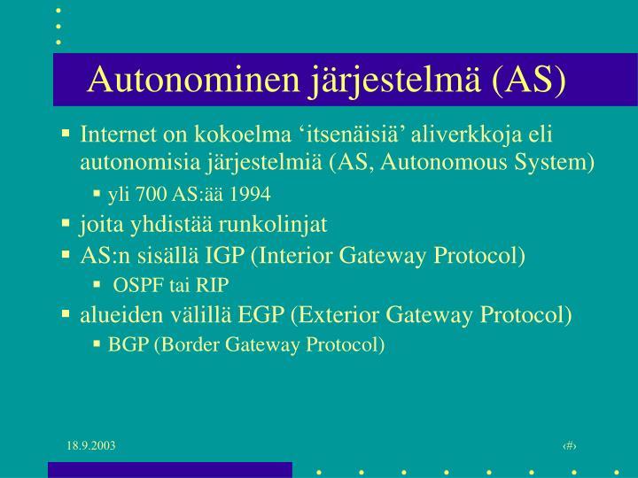 Autonominen järjestelmä (AS)