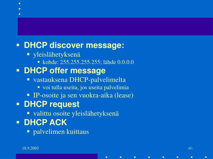 DHCP discover message: