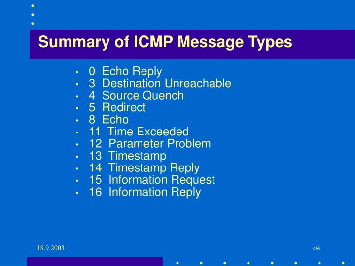 Summary of ICMP Message Types