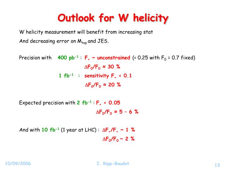 Outlook for W helicity