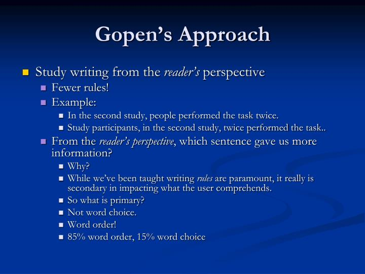 Gopen's Approach