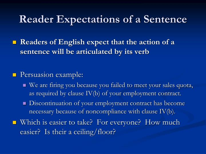 Reader Expectations of a Sentence