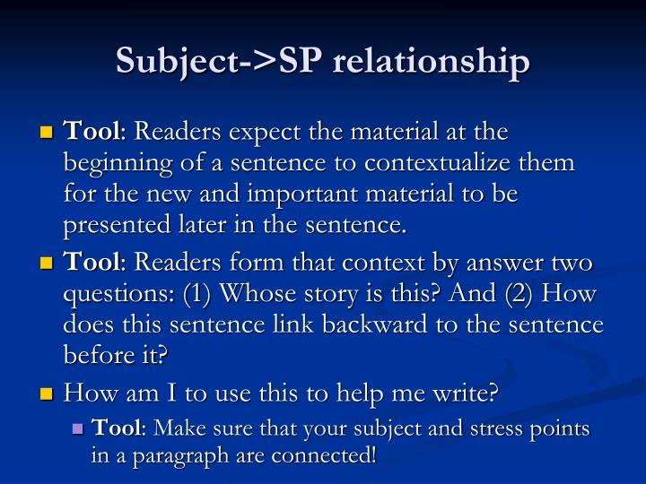 Subject->SP relationship
