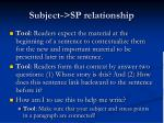 subject sp relationship