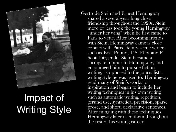 """the writing style of gertrude stein There used to be something known to all readers as """"steinese"""" steinese was the  peculiar literary idiom invented by gertrude stein around 1910 and made."""