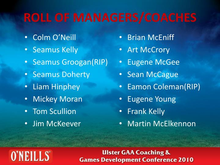 ROLL OF MANAGERS/COACHES