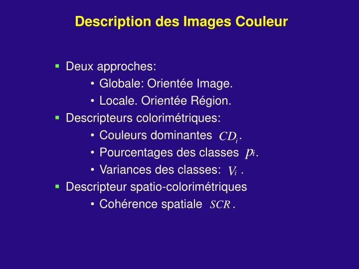 Description des Images Couleur