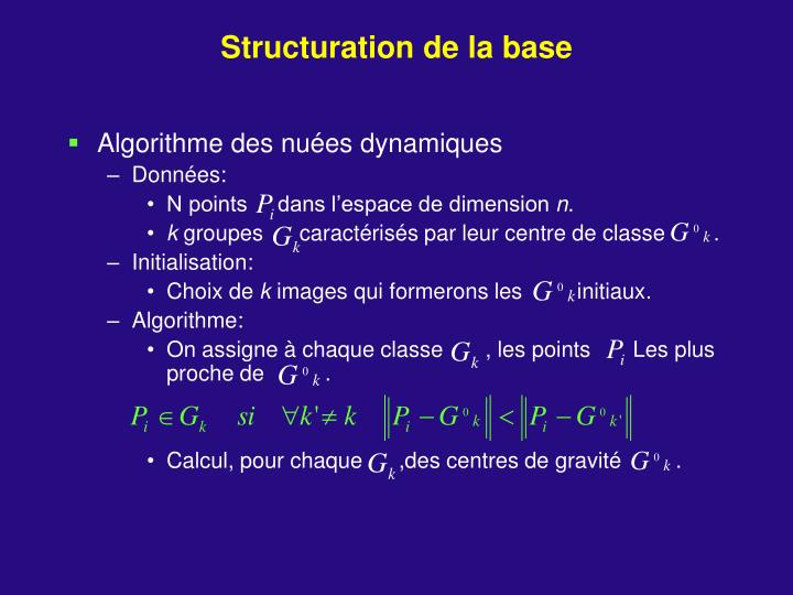 Structuration de la base