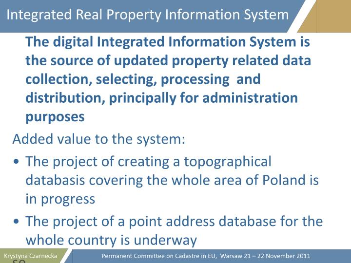 Integrated Real Property Information System
