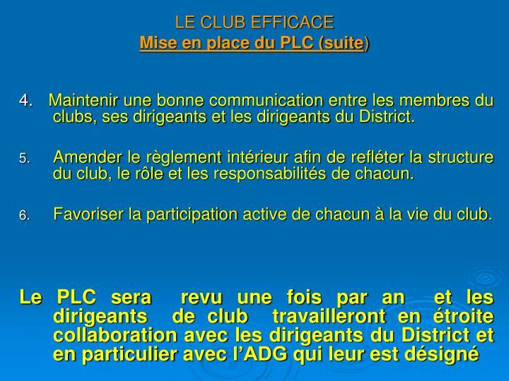 LE CLUB EFFICACE