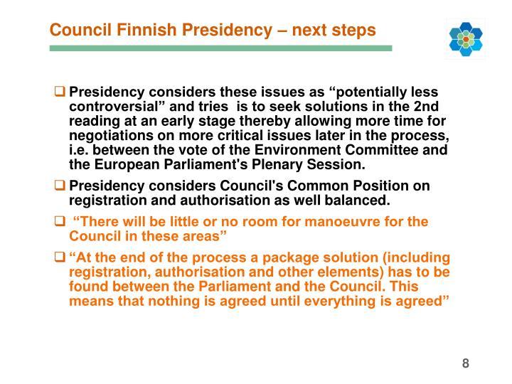 Council Finnish Presidency – next steps