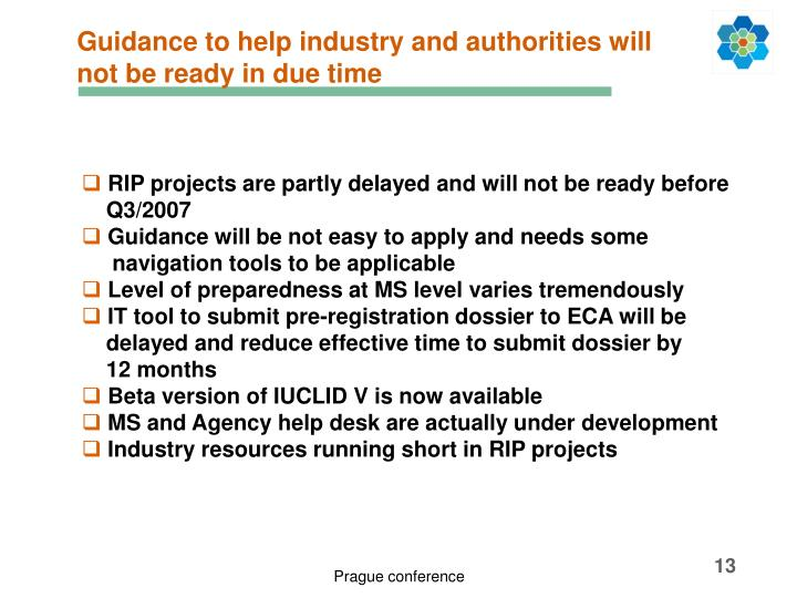 Guidance to help industry and authorities will not be ready in due time