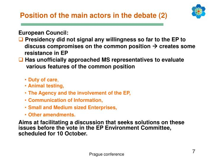 Position of the main actors in the debate (2)