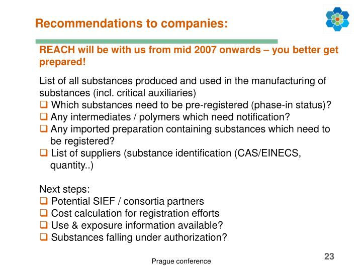 Recommendations to companies: