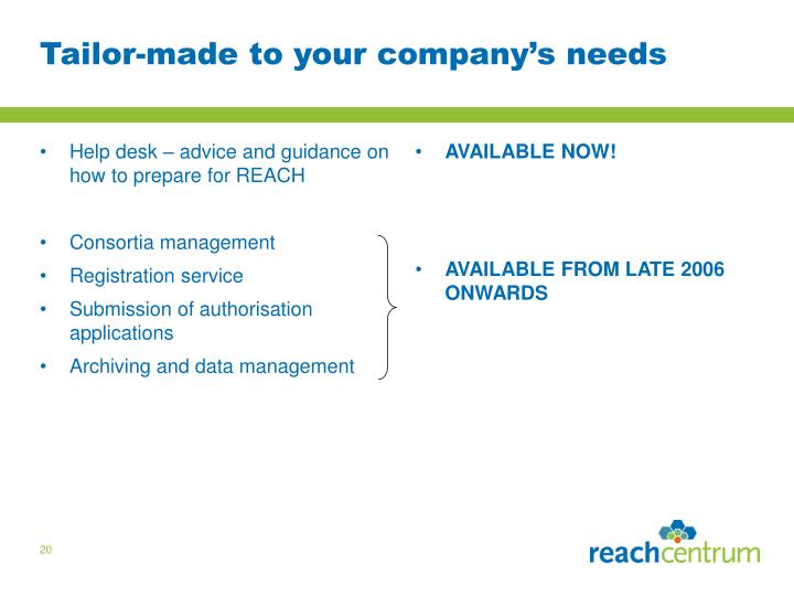 Help desk – advice and guidance on how to prepare for REACH