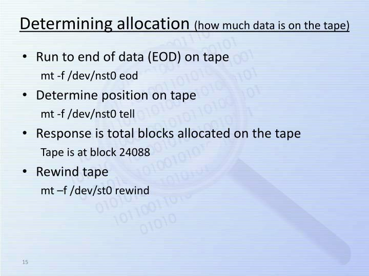 Determining allocation