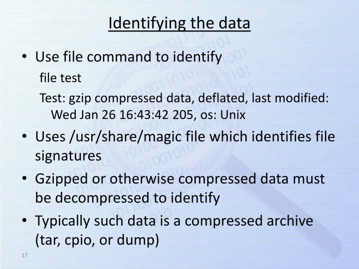 Identifying the data
