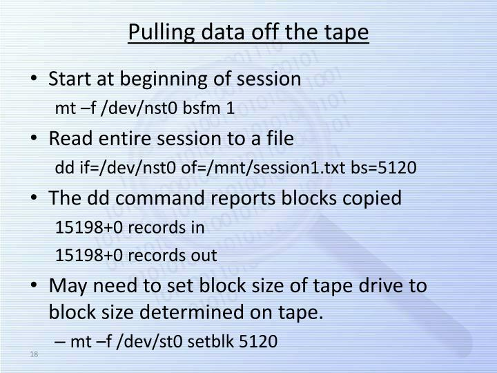 Pulling data off the tape