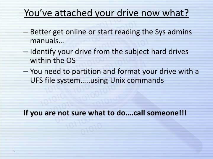 You've attached your drive now what?
