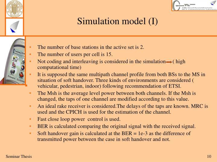 Simulation model (I)