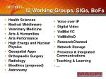 i2 working groups sigs bofs