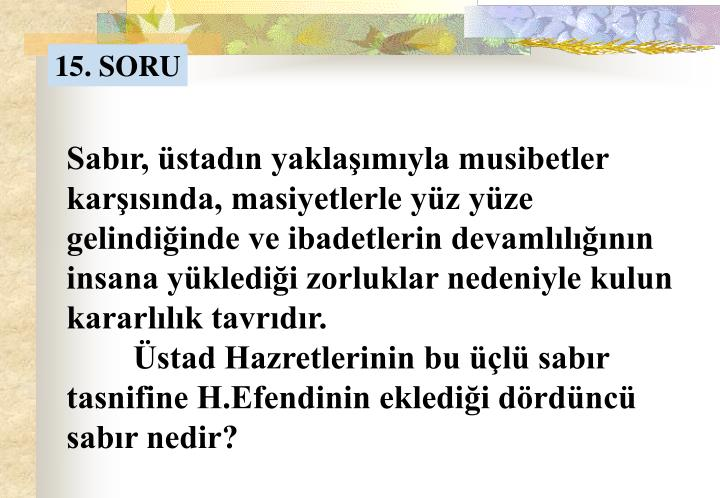 15. SORU
