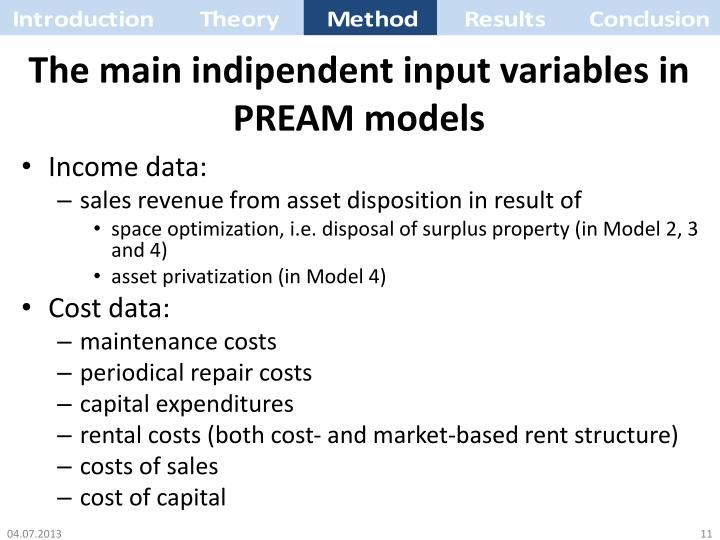 The main indipendent input variables in PREAM models
