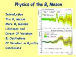 physics of the b s meson