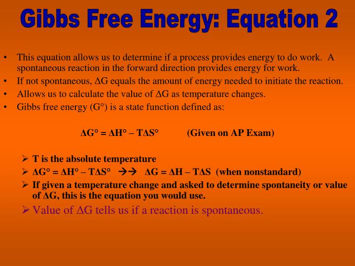 Gibbs Free Energy: Equation 2